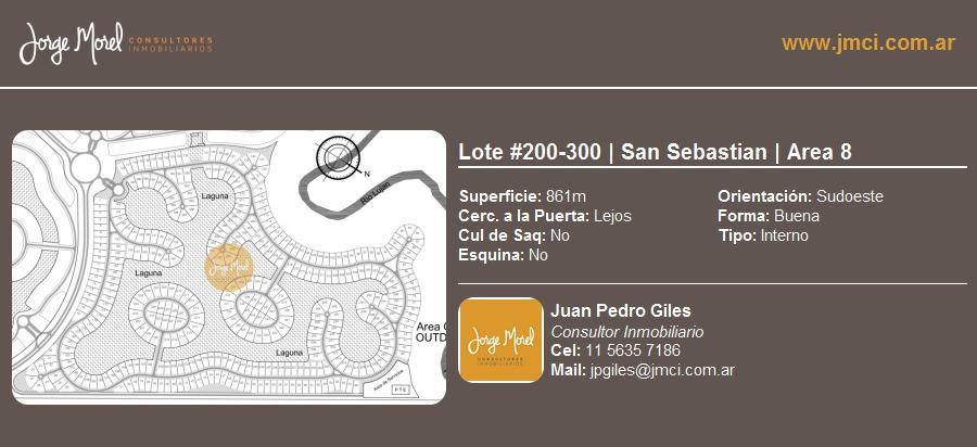 lote interno #200-300 - san sebastian - area 8 - 861m2 #id 1974