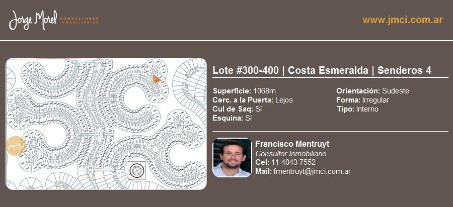 lote interno #300-400 - costa esmeralda - senderos 4 - 1068m2 #id 19362