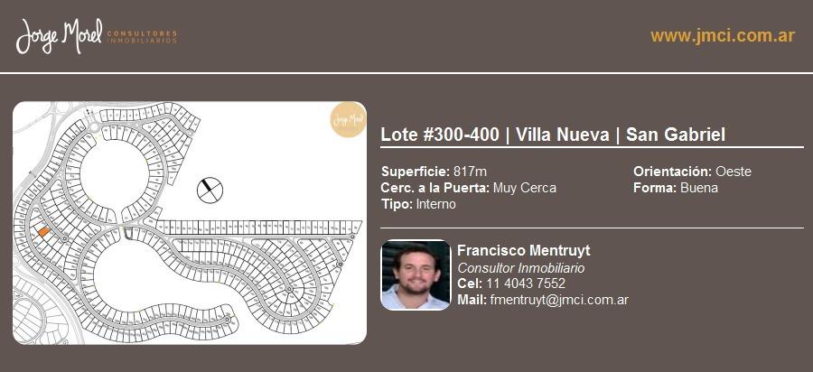 lote interno #300-400 - villa nueva - san gabriel - 817m2 #id 7305