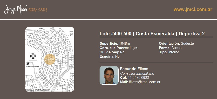 lote interno #400-500 - costa esmeralda - deportiva 2 - 1048m2 #id 9495