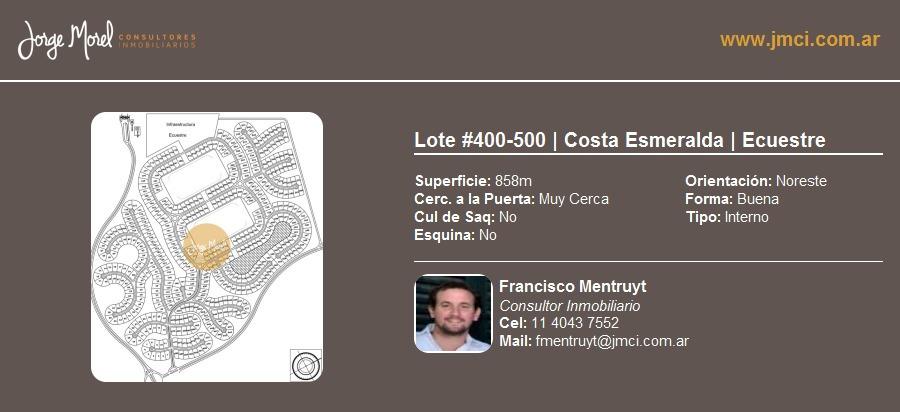 lote interno #400-500 - costa esmeralda - ecuestre - 858m2 #id 10049