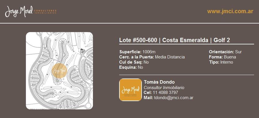 lote interno #500-600 - costa esmeralda - golf 2 - 1006m2 #id 11380