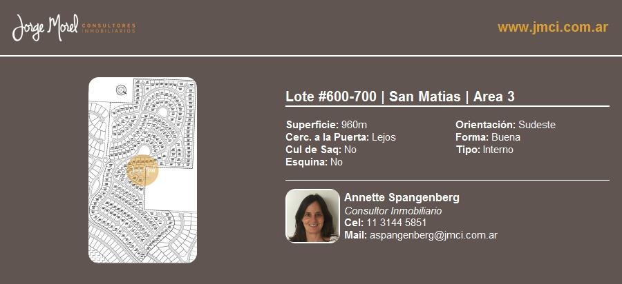 lote interno #600-700 - san matias - area 3 - 960m2 #id 13094