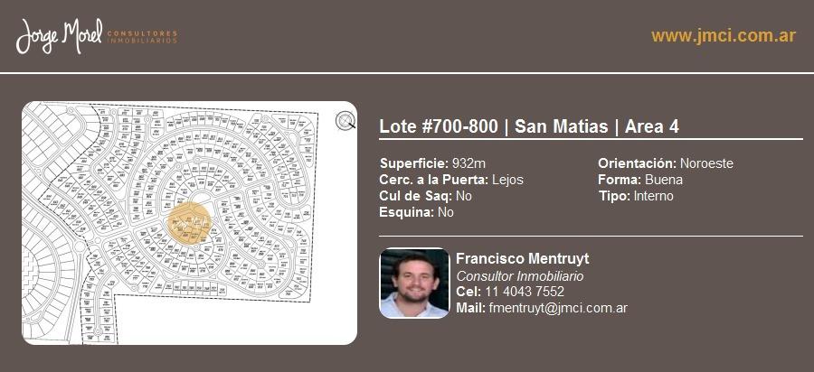 lote interno #700-800 - san matias - area 4 - 932m2 #id 13220