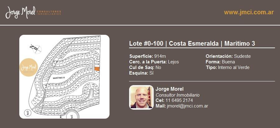 lote interno al verde #0-100 - costa esmeralda - maritimo 3 - 914m2 #id 20929