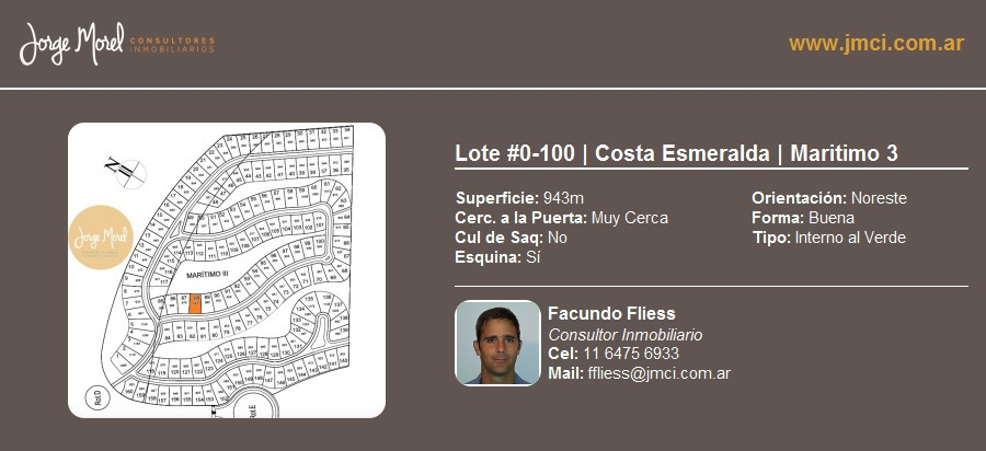 lote interno al verde #0-100 - costa esmeralda - maritimo 3 - 943m2 #id 20951