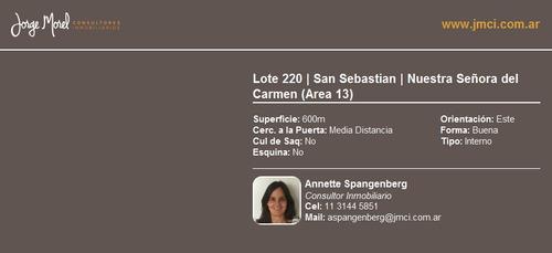 lote interno financiado - san sebastian - nuestra señora del carmen (area 13)