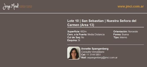 lote interno - san sebastian - nuestra señora del carmen (area 13)
