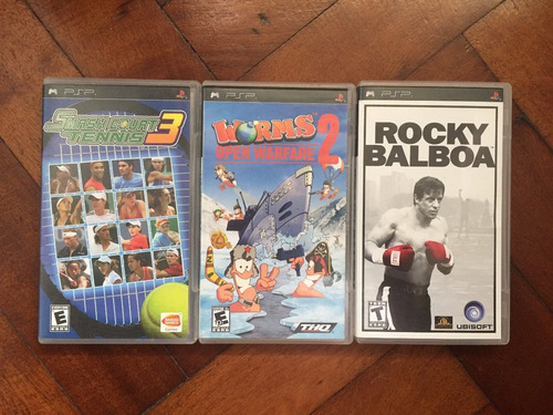 lote juegos psp rocky worms 2 smash court tennis 3 y 1 extra