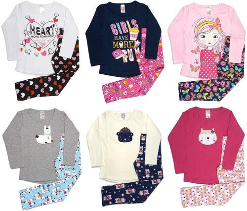 lote kit 3 conjunto infantil feminino roupa inverno atacado