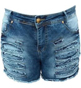 cf815ebc091d22 Lote Kit 4 Shorts Jeans Feminina Cintura Baixa Ponta D Estq