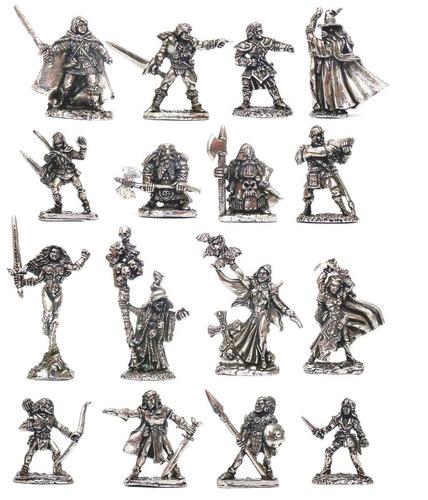 lote kit de 15 miniaturas rpg / d&d raças variadas