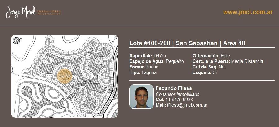 lote laguna #100-200 - san sebastian - area 10 - 947m2 #id 2588