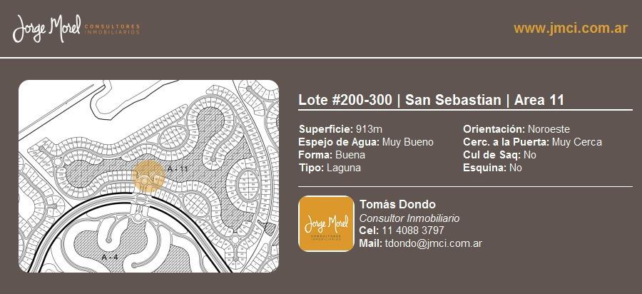 lote laguna #200-300 - san sebastian - area 11 - 913m2 #id 3055