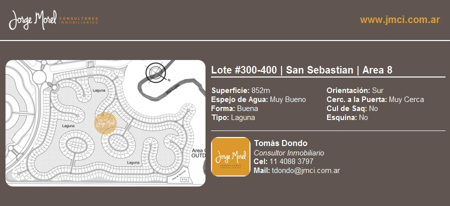 lote laguna #300-400 - san sebastian - area 8 - 852m2 #id 2088