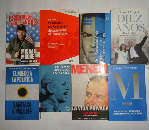 lote libros politica peronista x 8 libro kirchner longchamps