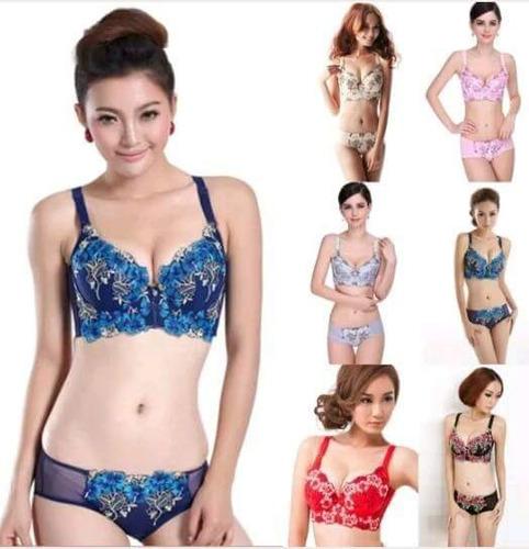 lote mayoreo. 6 coordinados. bra y panty. moda asiática