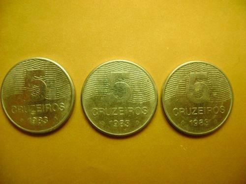 lote moedas 5 cruzeiros  - ano: 1983