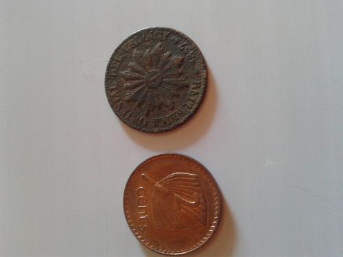 lote monedas 5 centesimos 1857 y elizabeth ii