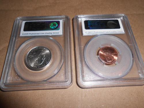 lote monedas certificadas pcgs lincoln shield y quarter stat