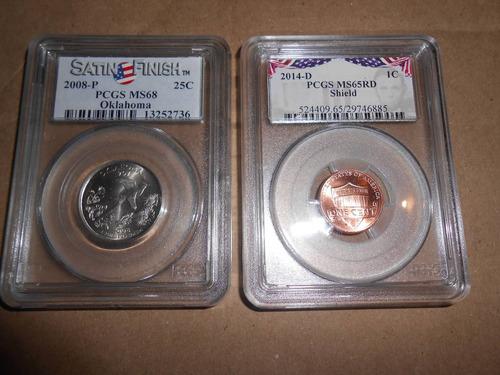 lote monedas certificadas pcgs lincoln shield y quarter stat