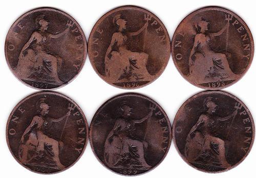 lote monedas one peny 1895-1900