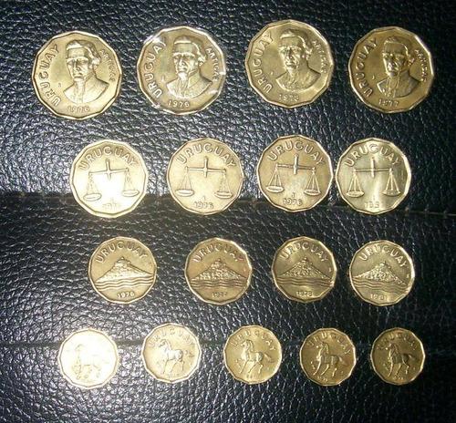 lote monedas uru serie com.de 10-20- 50 cen n$1 año,76-77-78