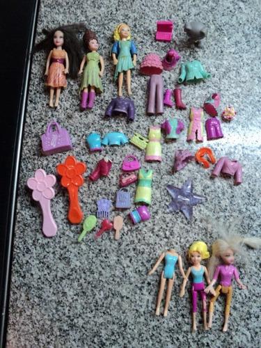 lote muñecas polly pocket mattel ropa mascota accesorios