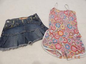 3022b8c04 Lote Nenas Pollera Jeans + Enterito Talle Entre 4 Y 6 Años