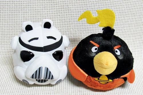 lote pelucia media angry birds star wars trooper 13cm bau