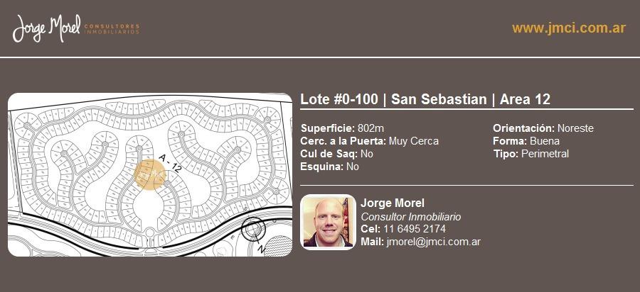 lote perimetral #0-100 - san sebastian - area 12 - 802m2 #id 3084