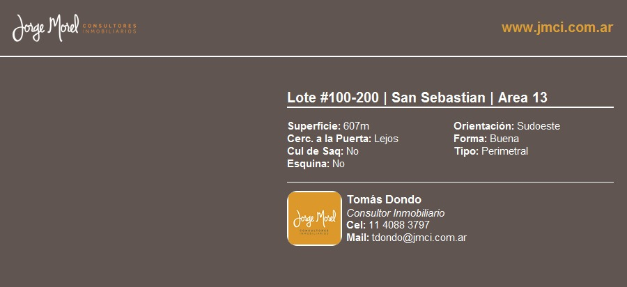 lote perimetral #100-200 - san sebastian - area 13 - 607m2 #id 22172