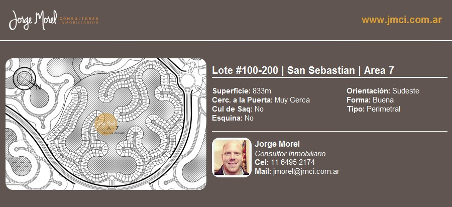 lote perimetral #100-200 - san sebastian - area 7 - 833m2 #id 1625
