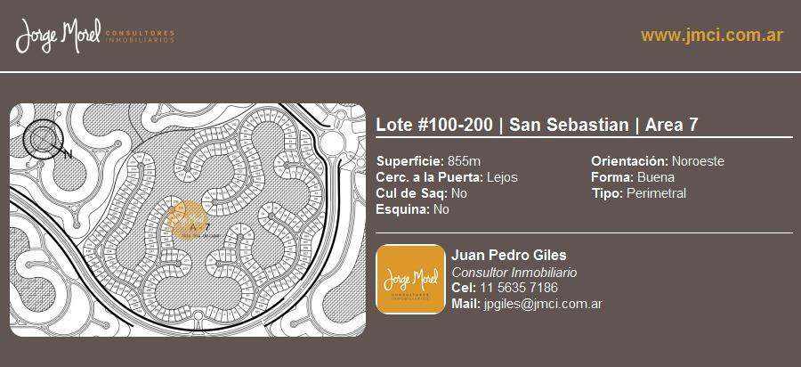 lote perimetral #100-200 - san sebastian - area 7 - 855m2 #id 1584