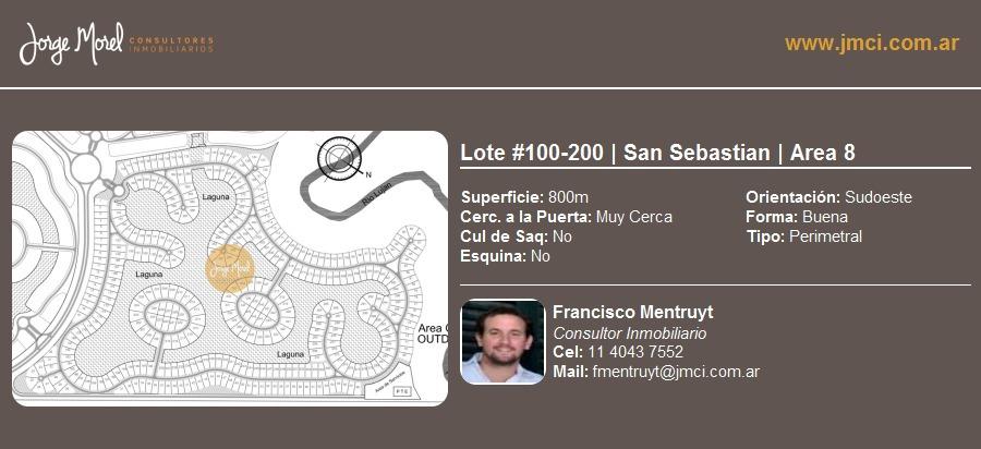 lote perimetral #100-200 - san sebastian - area 8 - 800m2 #id 1855