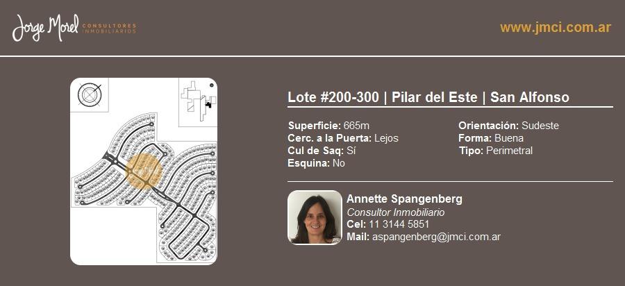 lote perimetral #200-300 - pilar del este - san alfonso - 665m2 #id 14030