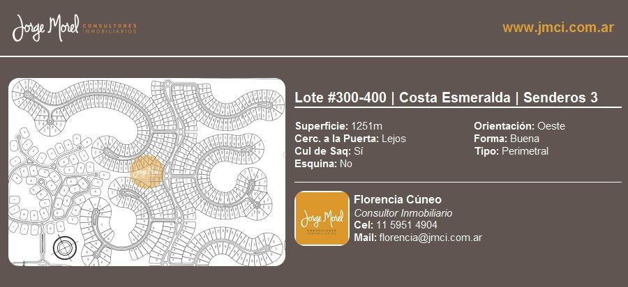 lote perimetral #300-400 - costa esmeralda - senderos 3 - 1251m2 #id 10588