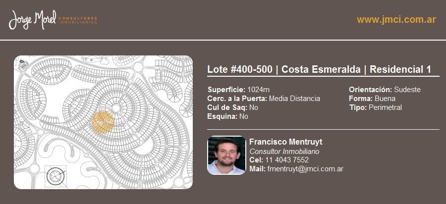 lote perimetral #400-500 - costa esmeralda - residencial 1 - 1024m2 #id 11924