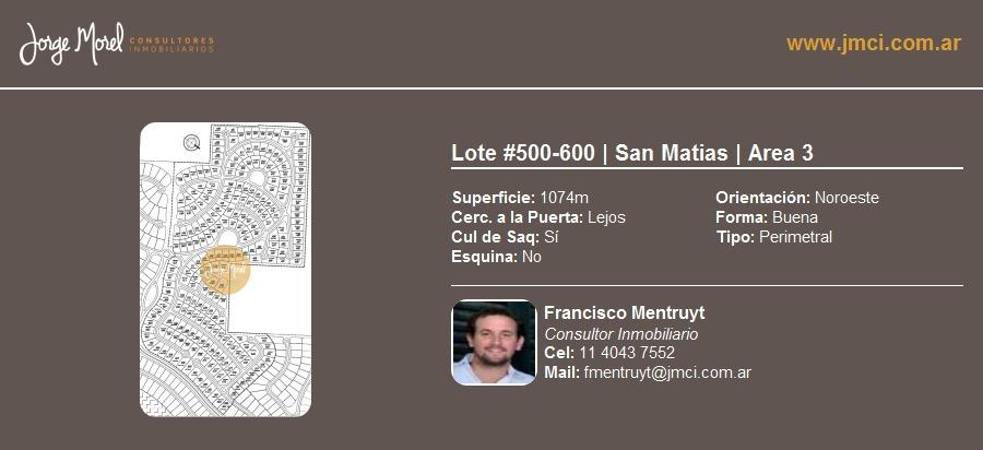 lote perimetral #500-600 - san matias - area 3 - 1074m2 #id 13024