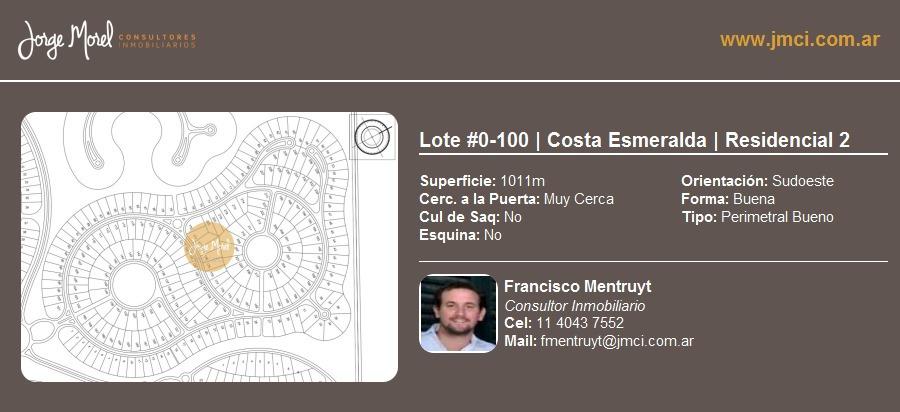 lote perimetral bueno #0-100 - costa esmeralda - residencial 2 - 1011m2 #id 12246