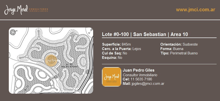 lote perimetral bueno #0-100 - san sebastian - area 10 - 845m2 #id 2504
