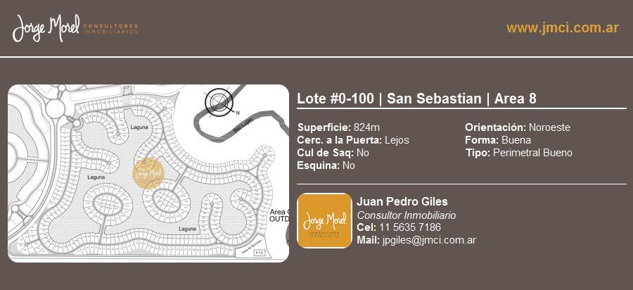 lote perimetral bueno #0-100 - san sebastian - area 8 - 824m2 #id 1797