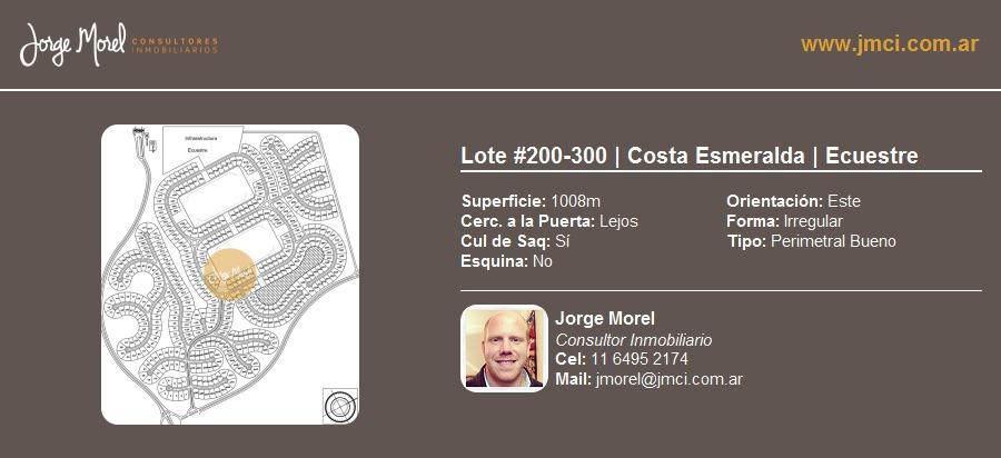 lote perimetral bueno #200-300 - costa esmeralda - ecuestre - 1008m2 #id 9882