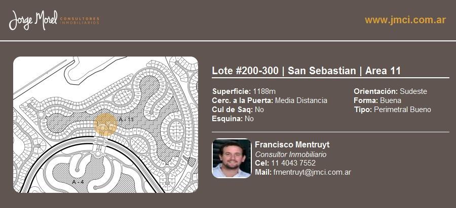 lote perimetral bueno #200-300 - san sebastian - area 11 - 1188m2 #id 3042