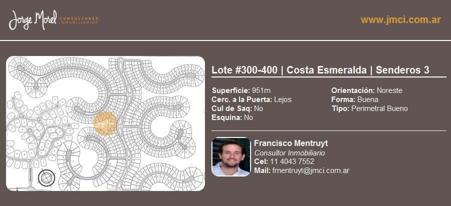 lote perimetral bueno #300-400 - costa esmeralda - senderos 3 - 951m2 #id 10596