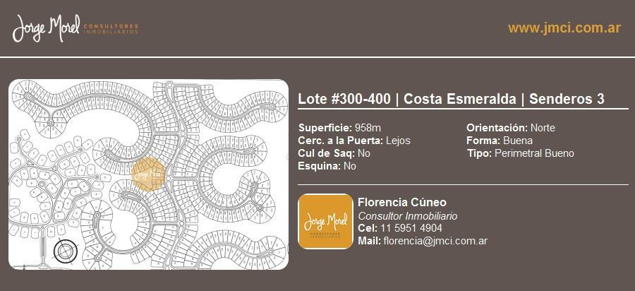 lote perimetral bueno #300-400 - costa esmeralda - senderos 3 - 958m2 #id 10605