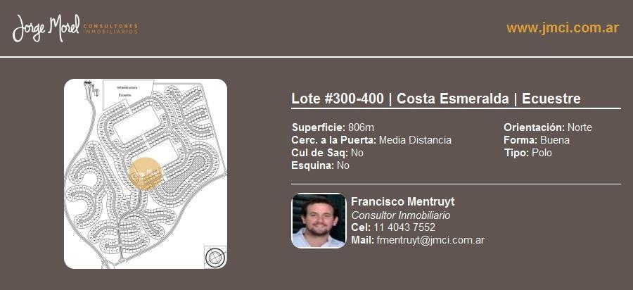 lote polo #300-400 - costa esmeralda - ecuestre - 806m2 #id 9945