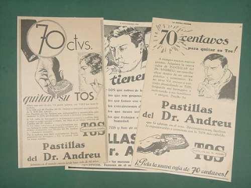 lote publicidad 9 publicidades pastillas doctor andreu 1930
