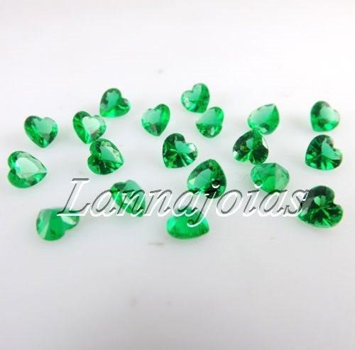lote quartzo esmeralda coração 20 pedra 5mm fretegrátis