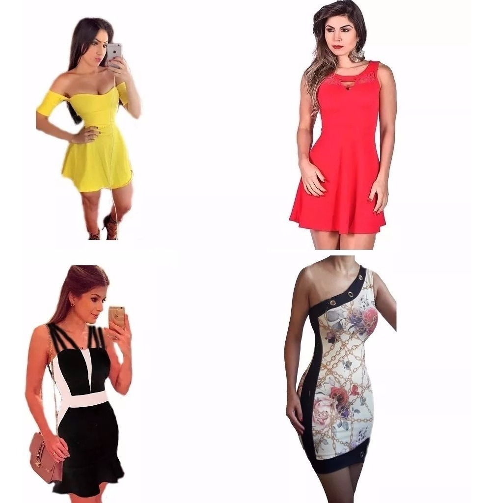 4e8a7358899511 Lote Quatro Vestidos Roupas Femininas Atacado Online Barato